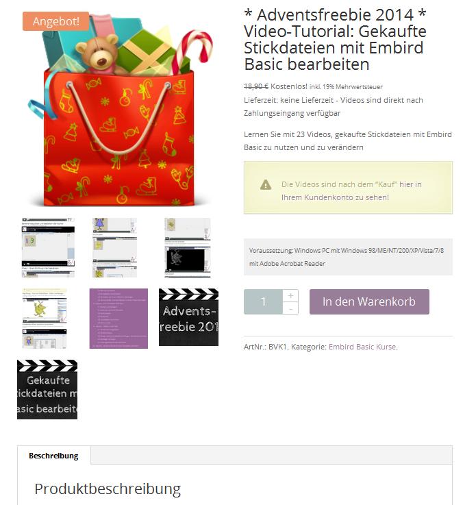 Adventsfreebie 2014 – Embird Basic Videkokurs